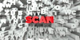 SCAN - Κόκκινο κείμενο στο υπόβαθρο τυπογραφίας - τρισδιάστατο δικαίωμα ελεύθερη εικόνα αποθεμάτων Στοκ φωτογραφία με δικαίωμα ελεύθερης χρήσης