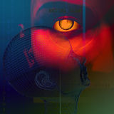 Scan of Eye. Eye scan and profile of head Royalty Free Stock Images