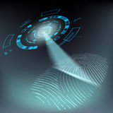 Scan fingerprint. Privacy and protection of personal data. HUD i. Nterface. Stock  illustration Royalty Free Stock Image