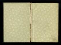 Scan the flyleaf of an old book, green-gray-brown, with dense and intricate floral pattern. With impurities, defects, and scuffs. Scan the flyleaf of an old stock image