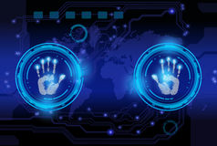 Scan hand print technology . royalty free illustration