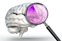 Scan on human brain with magnifying glass radar Royalty Free Stock Photos