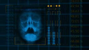 Scan of a human skull, looped hud interface medical equipment stock video