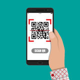 Scan QR code to Mobile Phone. Cartoon hand with mobile phone scanning QR code from document. Electronic scan, digital technology, barcode. Vector illustration in Royalty Free Stock Image