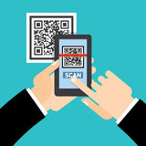 Scan QR code  to Mobile Phone. Electronic scan, digital technology, barcode. Vector illustration Royalty Free Stock Image