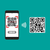 Scan QR code to Mobile Phone Royalty Free Stock Photo