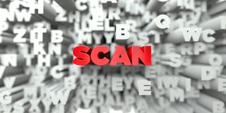 SCAN -  Red text on typography background - 3D rendered royalty free stock image Royalty Free Stock Photography
