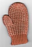 Scan of Red and White Child's Knit Winter Mitten Royalty Free Stock Photo