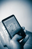 Scan with smartphone of qr code Stock Image