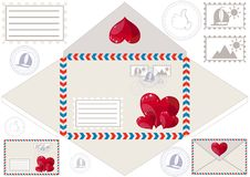 Scan to print an envelope, stamped and hearts Royalty Free Stock Photos