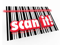Scan It Words Barcode UPC Symbols Universal Product Code. Scan It words in red 3d letters on UPC barcode chart to illustrate universal product code for Royalty Free Stock Image