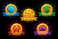 Scanala le icone, collezioni simboli selvaggi, di indennità, dello spargimento e del vincitore Per il gioco, interfaccia utente,  illustrazione vettoriale