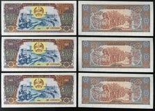 Scanarray cinco billetes de banco en nombramientos de 500 Kip Imagenes de archivo