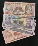 Scanarray cuatro billetes de banco de la lempira 1, 2, 5 y 10 Fotografía de archivo libre de regalías
