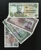Scanarray cztery banknotu 50.100, 500 i 1000 escud Środkowego banka Mozambik, Fotografia Royalty Free