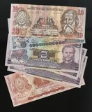 Scanarray four banknotes of 1, 2, 5 and 10 Lempira. Central Bank of Honduras,located in the modern treatment of spread out like a fan. The Lempira is the Royalty Free Stock Photography