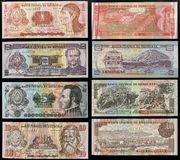 Scanarray four banknotes of 1, 2, 5 and 10 Lempira. Central Bank of Honduras,located in the modern treatment of spread out like a fan. The obverse and reverse Stock Photos
