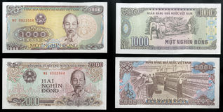Scanarray two banknotes nominal value one and two thousand dongs State Bank of Vietnam Royalty Free Stock Photo