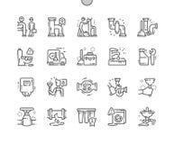 Scandagliare gli elementi Ben-ha elaborato la linea sottile griglia 2x delle icone 30 di vettore perfetto del pixel per i grafici illustrazione di stock