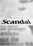 Scandal. Headline blur in newspaper Stock Photos