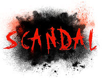 Scandal. Typography illustration of the word scandal with grungy spatter Stock Images