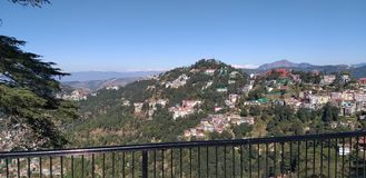 Scandal Point, Ridge, Mall Road, Shimla, India. Kufri, Green Valley, Snow Point, Scenery, Church, Mountains, Valley, Snow, Scandal Point, Ridge, Viceregal Lodge royalty free stock images