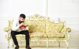 Scandalous bestseller concept. Guy reading book with attention. Macho on concentrated face reading book. Man with beard. And mustache sits on baroque style sofa royalty free stock photography