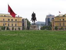 Scanderbeg Square, Tirane, Albania-May 10, 2016. It's a normal May day day at Scanderbeg Square, Tirane, Albania. In this 3 D Photography you can see parts of Stock Image