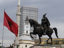 Scanderbeg Square, Tirane, Albania-May 10, 2016. It's a normal May day day at Scanderbeg Square, Tirane, Albania. In this 3 D Photography you can see parts of Stock Photo