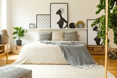 Scandi bedroom interior with posters Royalty Free Stock Photo