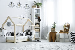 Scandi child bedroom with window Royalty Free Stock Photos