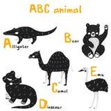 Scandi cute Animals set abc alphabet, set for kids abc elements in scandinavian style. Vector hand drawn cute abc alphabet animal scandinavian design, alligator stock illustration