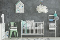 Scandi style baby boy room Royalty Free Stock Image