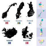 Scandianvian countries maps. Vector set of scandinavian countries map Royalty Free Stock Photography