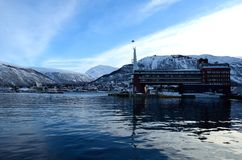 Scandic hotel in tromso city on sunny blue winter day Royalty Free Stock Photography