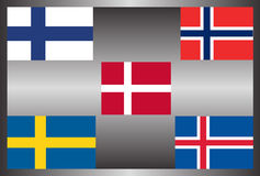 Scandinavain group flag Contries Stock Photography