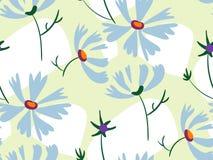 Scandinave primitif sans couture vert clair de conception florale de vecteur de modèle de fleurs bleues illustration de vecteur