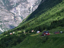 Scandinavia. Houses in a mountain village in Norway Stock Photography