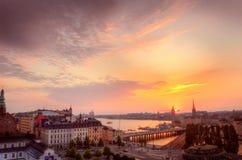 Scandinavia. Panorama of Stockholm at beautiful sundown scenery Stock Images