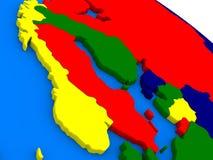 Scandinavia on colorful 3D globe Stock Image