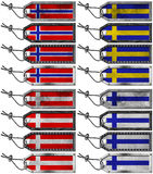 Scandinavia Flags Set of Grunge Metal Tags Royalty Free Stock Image