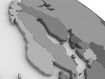 Scandinavia on grey 3D map Royalty Free Stock Photo
