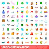 100 scandinavia icons set, cartoon style. 100 scandinavia icons set in cartoon style for any design vector illustration royalty free illustration