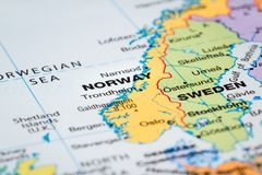 Scandinavia on  a map. Scandinavia on  a world map with Norway  in focus Stock Photos