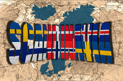 Scandinavia. Map, word and flags of Scandinavia on the background of the political map of the world Stock Image
