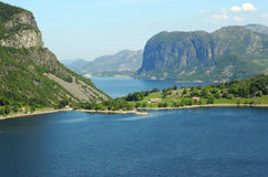 Scandinavia, Norway. Scandinavian fjord with blue water in Norway with mountains, trees clouds and sky stock photos