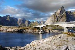 Scandinavia, Norway, Nordic Rugged Landscape, Lofoten Islands. Idyllic Norwegian Fjord with island mountains and bridge on Lofoten Islands, Norway. Scandinavia stock image