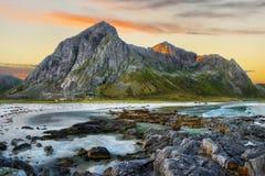 Scandinavia, Norway, Nordic Rugged Landscape, Lofoten Islands. Idyllic Norwegian Fjord and mountains by sunrise on Lofoten Islands, Norway. Scandinavia - Rugged stock photo