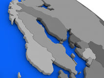 Scandinavia on political Earth model. Map of Scandinavia on 3D model of Earth with countries in various shades of grey and blue oceans. 3D illustration Stock Photos