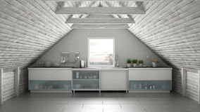 Scandinavia przemysłowa kuchnia, loft mezonin, dachowy architectur royalty ilustracja